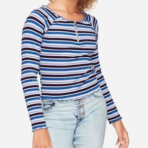 NWT Justice Blue Striped Zip Long Sleeve Top 8